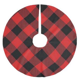 Röd och svart kjol för buffelplädjulgran julgransmatta borstad polyester