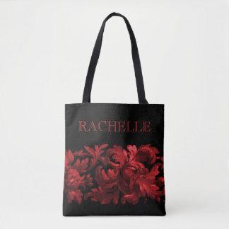 Röd och svart målad barock gräns med namn tygkasse