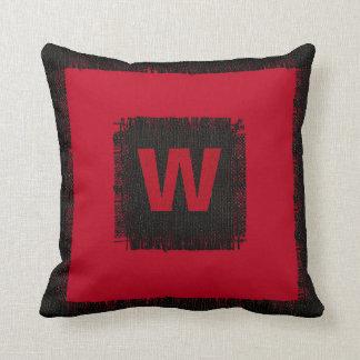 Röd och svart Monogram Kudde