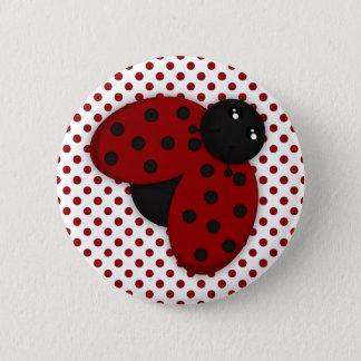 Röd och svart nyckelpiga standard knapp rund 5.7 cm