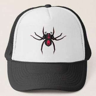 Röd och svart spindel truckerkeps