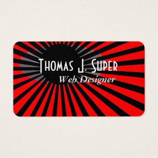 Röd och svart Starburst design Visitkort