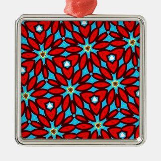 Röd och turkosblommigtkonst julgransprydnad metall