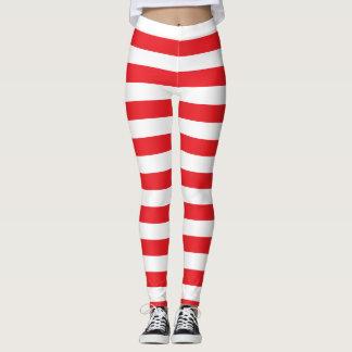 Röd och vit sätta en klocka på randig damasker leggings