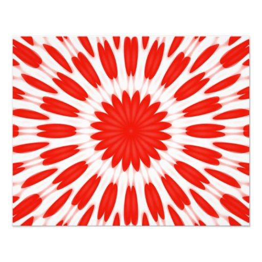 Röd och vitblommönster fototryck