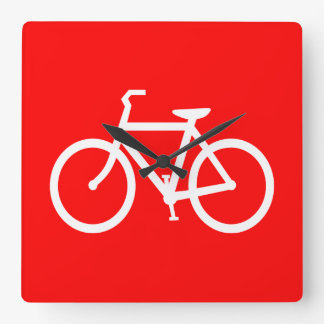 Röd och vitcykel fyrkantig klocka