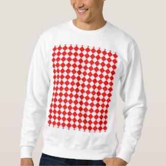 Röd och vitdiamantmönster långärmad tröja