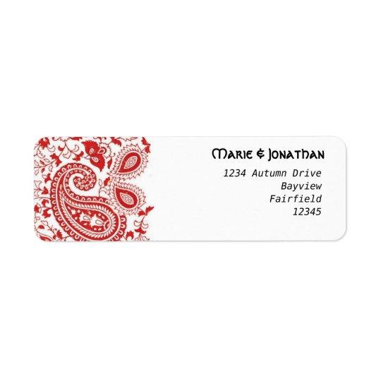Röd och vitpaisley bröllop returadress etikett
