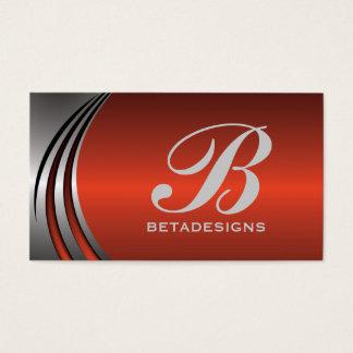 Röd-orange för metallsilvergrå färg slå monogram visitkort