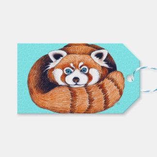 Röd Pandabjörn på turkos Presentetikett