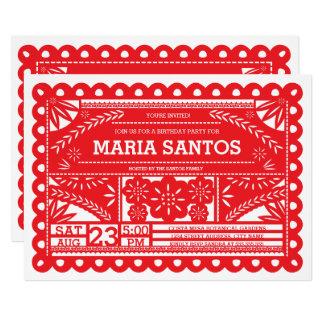 Röd Papel Picado födelsedagsfestinbjudan - 12,7 X 17,8 Cm Inbjudningskort