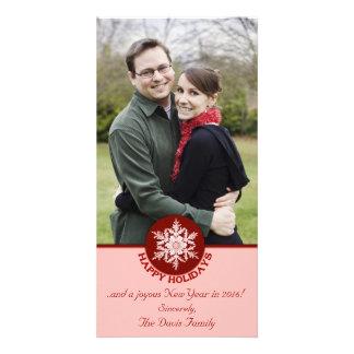 Röd papper Snowflake 4x8 för glad helg Fotokort