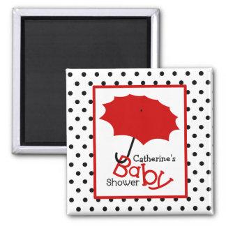 Röd paraplybaby shower - svart polka dots