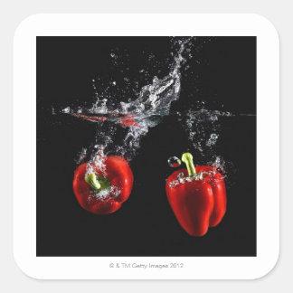 röd peppar som plaskar i vatten fyrkantigt klistermärke