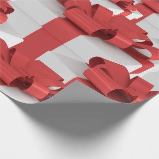 Röd pilbåge för julgåva som slår in papper presentpapper