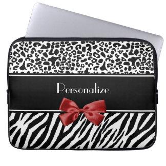 Röd pilbåge för moderiktig svartvit Leopardzebra Laptop Datorfodral