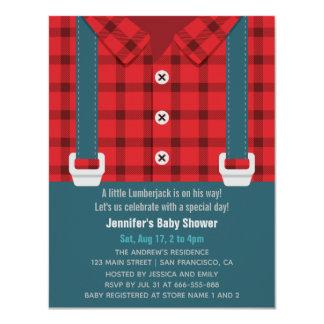 Röd pläd för Lumberjack och Denimbaby shower 10,8 X 14 Cm Inbjudningskort