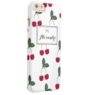 Röd plus för iPhone 6 för körsbärmönsterpersonlig Barely There iPhone 6 Plus Skal