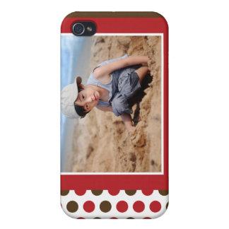 (Röd) Polkadot fotoanpassningsbar, iPhone 4 Cover