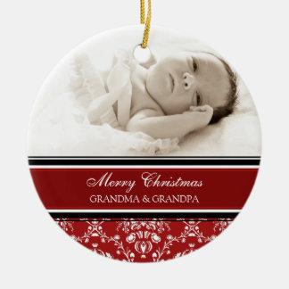Röd prydnad för fotogod julmorföräldrar rund julgransprydnad i keramik