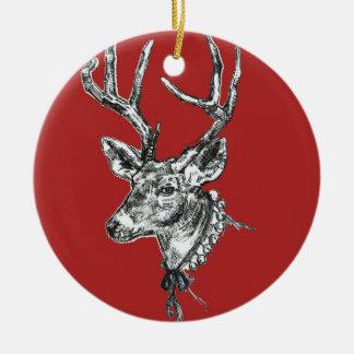Röd prydnad för ren, (guld) rund julgransprydnad i keramik