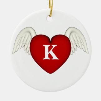 Röd prydnad för vingar för hjärtaMonogramängel Julgransprydnad Keramik