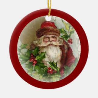 Röd prydnad för vintagejultomtenjul rund julgransprydnad i keramik