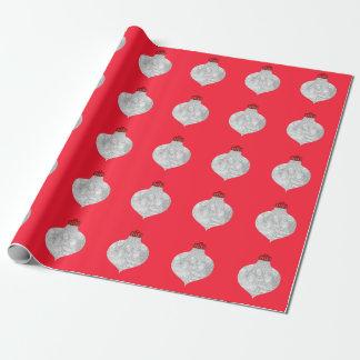 Röd prydnadfotomall presentpapper