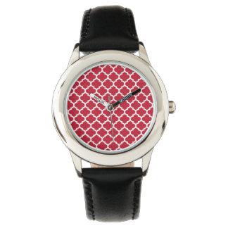 röd quatrefoilmönsterdesign armbandsur