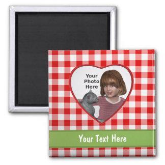 Röd ram för GinghamLookhjärta: Tillfoga ett foto o Magnet