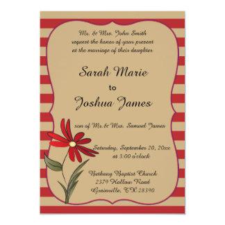 Röd randig blommasamling 12,7 x 17,8 cm inbjudningskort