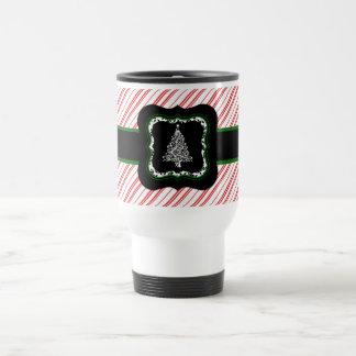 Röd randtravel mug för julgran resemugg