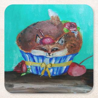 Röd rävaktig rosa muffin underlägg papper kvadrat