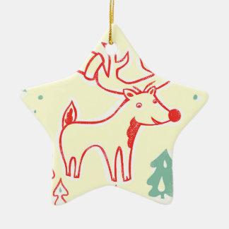 Röd ren med hatten i Retro julskog Stjärnformad Julgransprydnad I Keramik