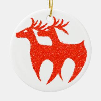 Röd renjulaftonprydnad rund julgransprydnad i keramik