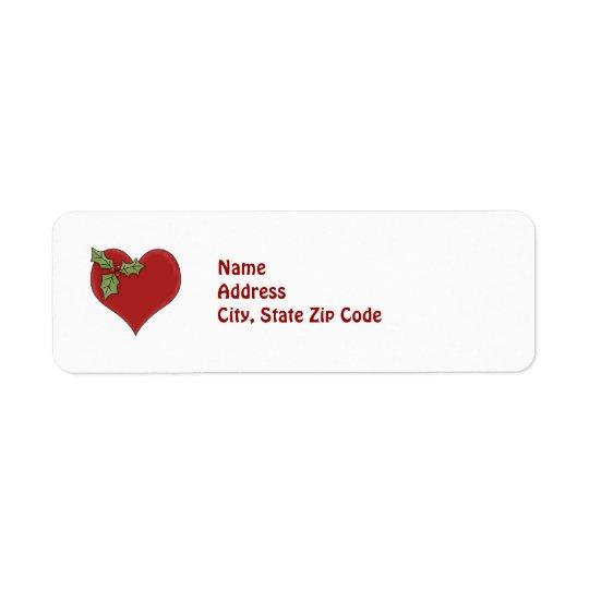 Röd returadress för hjärta- och gröntjärnekhelgdag returadress etikett