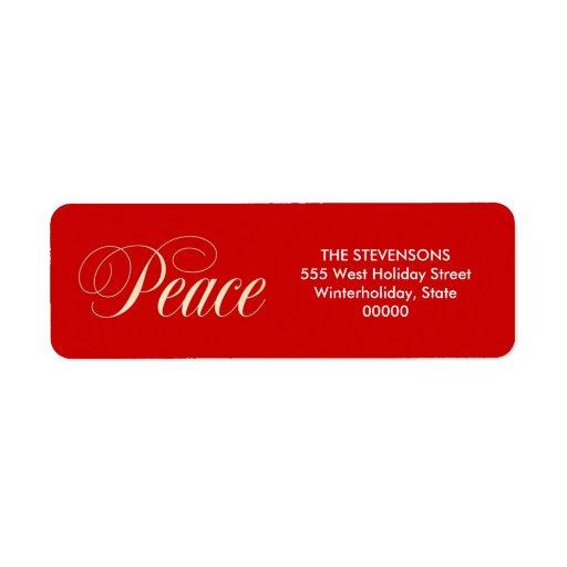 Röd returetiketter för elegant fredhelgdag returadress etikett