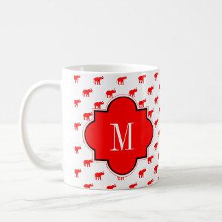 Röd röd vitpolkadotelefant vit mugg