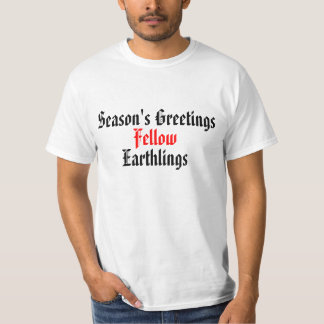 """Röd rolig helgdaggod jul """"för med- Earthlings"""" T-shirts"""