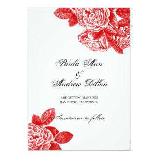 Röd ros 12,7 x 17,8 cm inbjudningskort