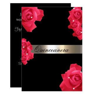 Röd ros beställnings- Quinceanera inbjudan