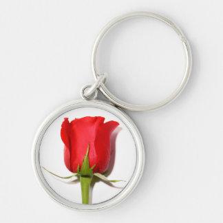 Röd ros Keychain Rund Silverfärgad Nyckelring