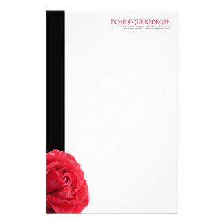 Röd ros med svart brytning brevpapper