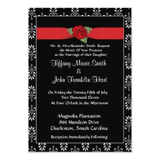 Röd ros- och bandbröllopinbjudan unika inbjudningar
