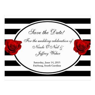 Röd ros på svart- & vitbröllop spara datum vykort