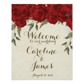 Röd ros som gifta sig välkommet mottagande, poster