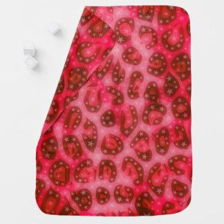 Röd rosa glödande Cheetah Bebisfilt