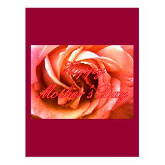 Röd rosa ros för lycklig mors dag MUSEET Zazzle Vykort