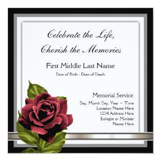 Röd rosbegravningmeddelande fyrkantigt 13,3 cm inbjudningskort