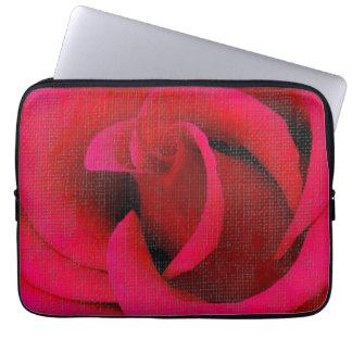 Röd rosblomma laptop datorskydd
